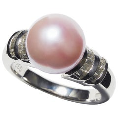 Platinum Pink Coral Core Pearl Ring with Diamonds