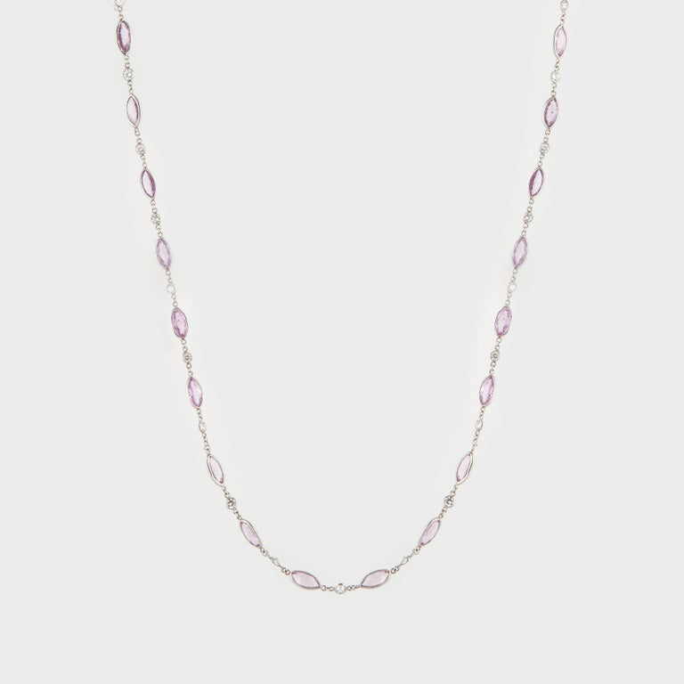 Platinum Pink Sapphire Diamond Necklace In Good Condition For Sale In Houston, TX