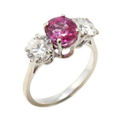 Platinum Pink Sapphire Ring of 1.50 Cts and Diamonds Totaling 2 Carats