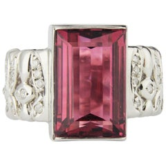 Platinum, Pink Tourmaline and Diamond Ring