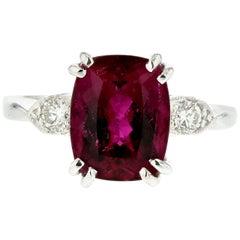 Platinum Pink Tourmaline Diamond Ring