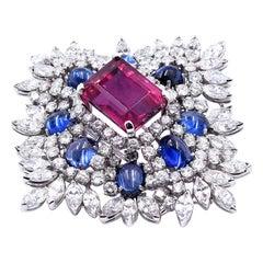 Platinum Pink Tourmaline, Sapphire, and Diamond Pin / Pendant