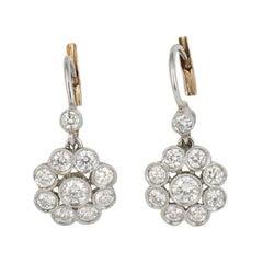Platinum Platinum/18 Karat Yellow Gold Diamond Earrings
