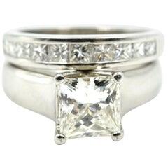 Platinum, Princess Cut Centre 1.25 Carat Diamond Wedding Set