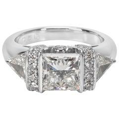 Platinum Princess Cut Diamond Engagement Ring H VS2 3.19 Carat