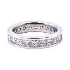 Platinum Princess Cut Diamond Eternity Band