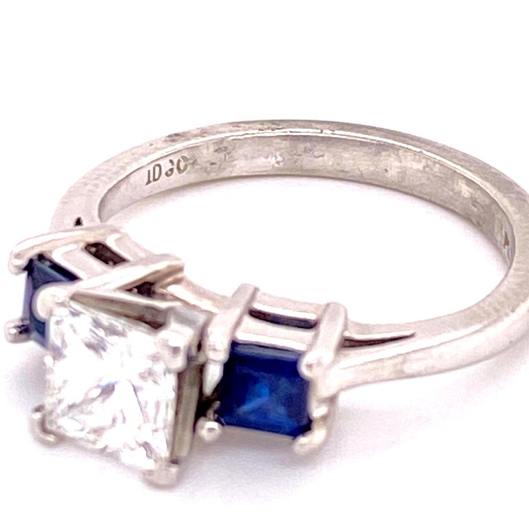 Modern Platinum Princess Cut Diamond Sapphire Three-Stone Engagement Ring GIA G/VS2 For Sale