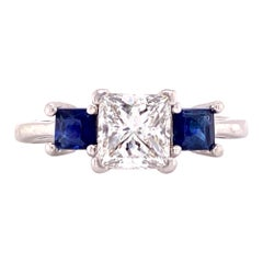 Platinum Princess Cut Diamond Sapphire Three-Stone Engagement Ring GIA G/VS2