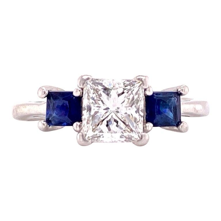 Platinum Princess Cut Diamond Sapphire Three-Stone Engagement Ring GIA G/VS2 For Sale