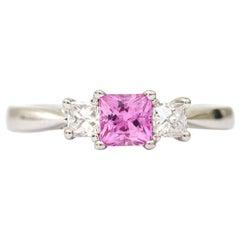 Platinum Princess Cut Pink Sapphire and Diamond Three-Stone Trilogy Dress Ring