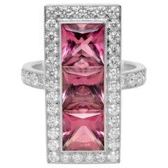 Platinum Princess Cut Pink Tourmaline Three Stone Diamonds Halo Ring