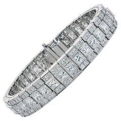 Platinum Princess Cut Row Diamond Bracelet, 26.70 Carat