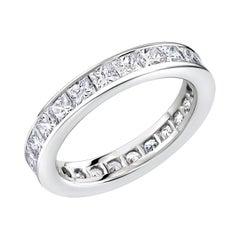 Platinum Princess Diamond Eternity Wedding Band Weighing 2.75 Carat