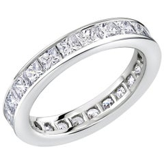 Platinum Princess Diamond Eternity Wedding Band Weighing 2.75 Carat
