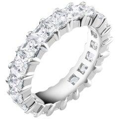 Platinum Princess Diamond Prong Set Eternity Ring Weighing 4.50 Carat