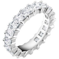 Platinum Princess Diamond Prong Set Eternity Ring Weighing 4.50 Carat