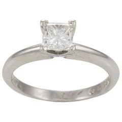 Platinum Princess Diamond Solitaire Engagement Ring .74 Carat GIA Certificate