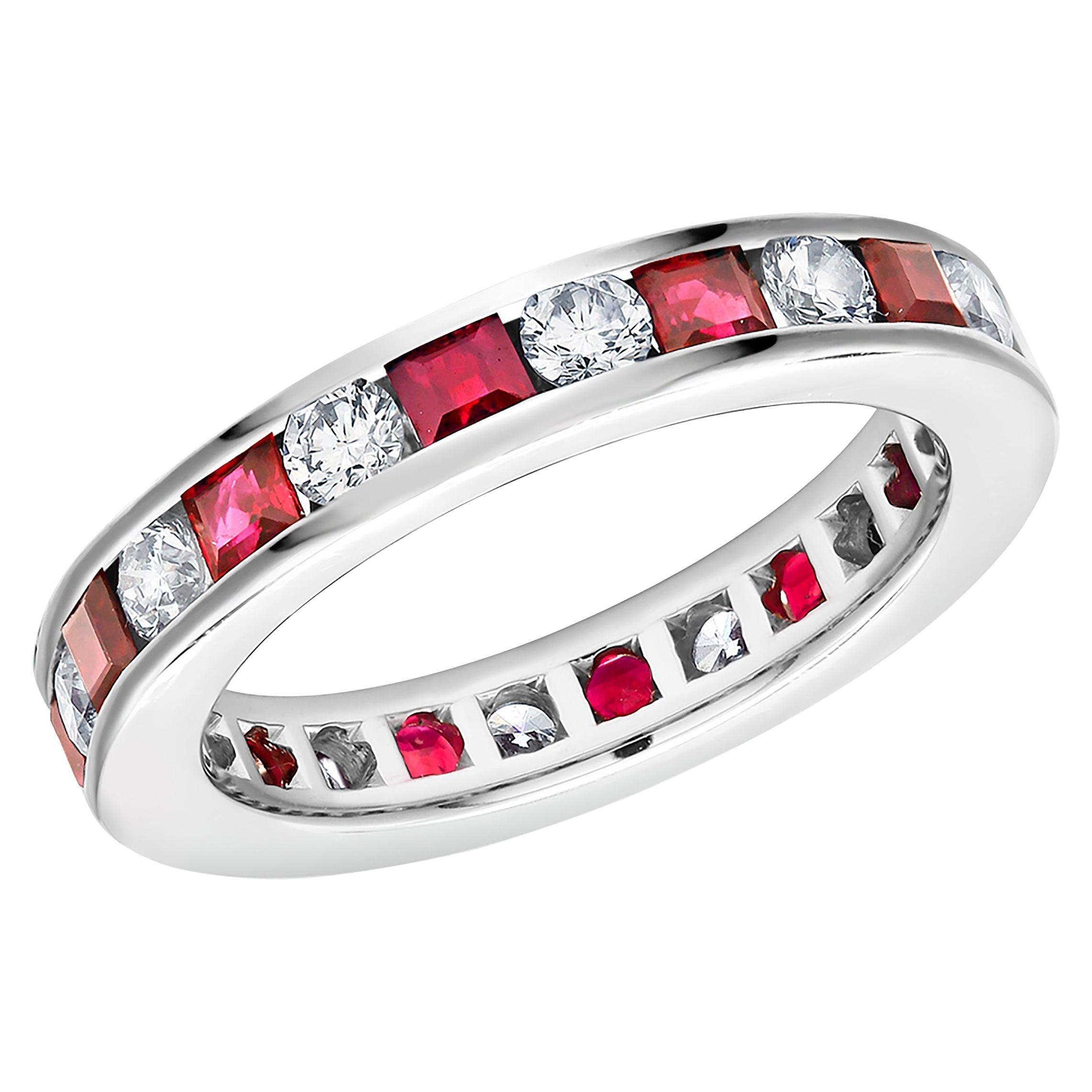 Platinum Princess Ruby Alternating Round Diamond Eternity Anniversary Band Ring