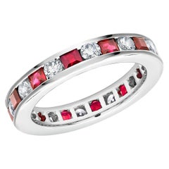 Platinum Princess Ruby Alternating Round Diamond Eternity Anniversary Band Ring