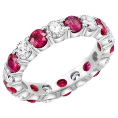 Platinum Prong Set Eternity Band with Diamond Alternating Ruby Total 4.50 Carat