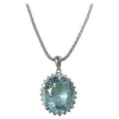 GIA Certified 24.10 Carat Paraiba Tourmaline with Diamonds