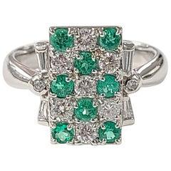 Platinum PT900 Emerald and Diamond Ring