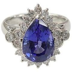 Platinum PT900 Tanzanite and Diamond Ring