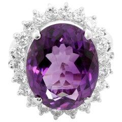 Platinum Purple Amethyst and Diamond Ring