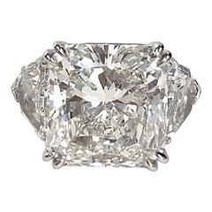 Radiant Diamond  12.62 CT, HSI1 GIA Report, Platinum Ring