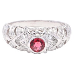 Platinum, Red Spinel and Diamond Ring