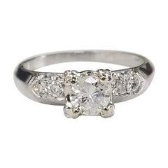 Platinum Retro Art Deco Inspired Diamond Engagement Ring