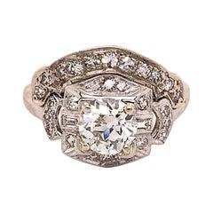 Platinum Ring 1.05ct Center European Genuine Natural Diamond '#J4888'
