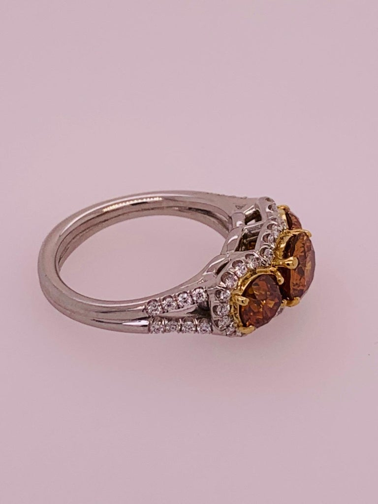 Modern Platinum Ring 2.50 Carat Round Brilliant GIA Natural Deep Orange Diamonds For Sale