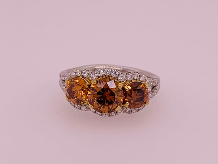 Platinum Ring 2.50 Carat Round Brilliant GIA Natural Deep Orange Diamonds In Excellent Condition For Sale In Los Angeles, CA