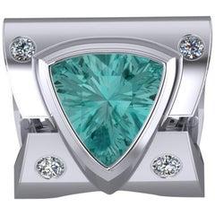 Platinum Ring 3.50 Ct Trillion Cut Paraiba Color Tourmaline and .50 Ct Diamonds