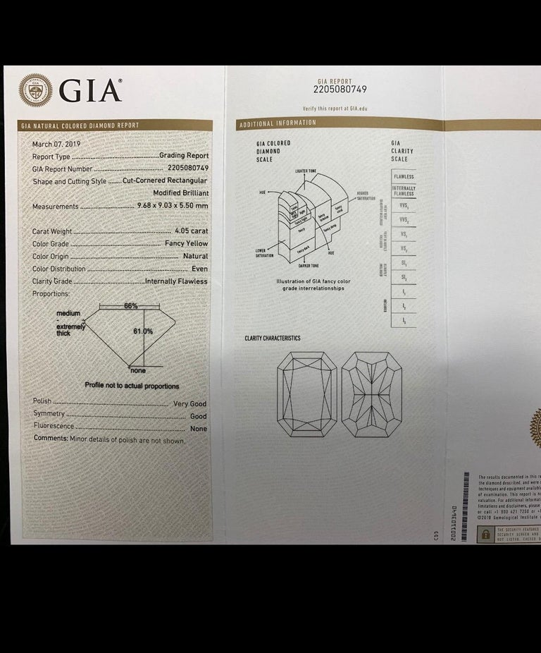 Women's Platinum Ring 4.05 Carat GIA Internally Flawless Radiant Natural Fancy Yellow For Sale