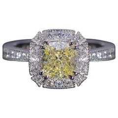 Platinum Ring Cushion Cut Fancy Yellow Diamond Cocktail Ring