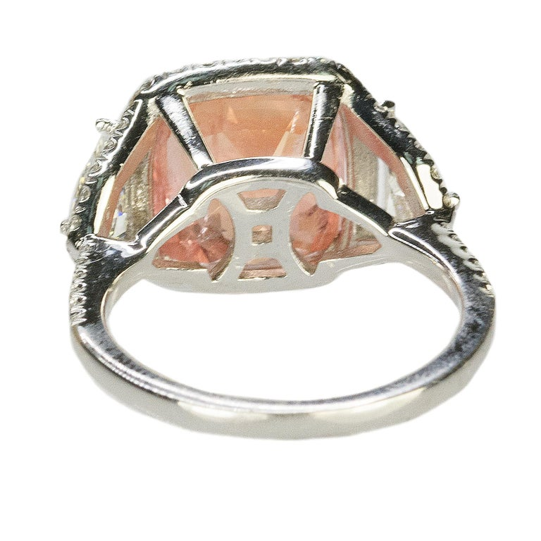 Platinum Ring No Heat Ceylon Padparadscha Sapphire For Sale 1