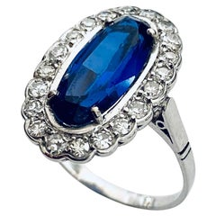 Platinum Ring Set with 20 Diamonds and 1 Synthetic Sapphire, France, 1925