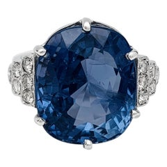 Platinum Ring Set with a 13.13 Carat Unheated Sapphire and Diamonds