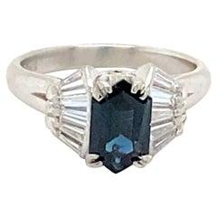Platinum Ring with 1.40 Carat Montana Sapphire