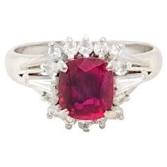 Platinum Ring with 1.44 Carat Burma Ruby