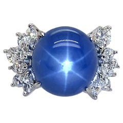 Platinum Ring with 21.83 Carat Blue Star Sapphire