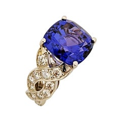 Platinum Ring with 9.65 Carat Cushion Cut Tanzanite Center and Diamond Setting
