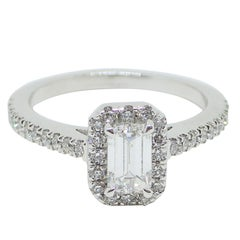 0.98 Carat - Platinum - Emerald Cut Diamond Engagement Halo Ring