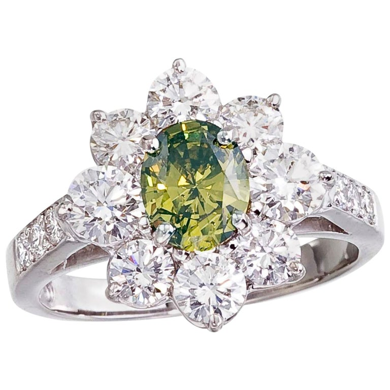 Platinum Ring with a Natural Color Oval Diamond, with GIA Report For Sale