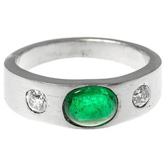 Platinum Ring with Colombian Emerald and Old Cut Diamonds, English, circa 1990
