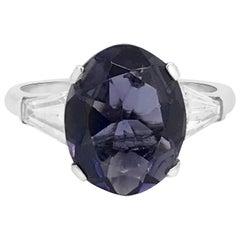 Platinum Ring with Diamond and Oval Tanzanite