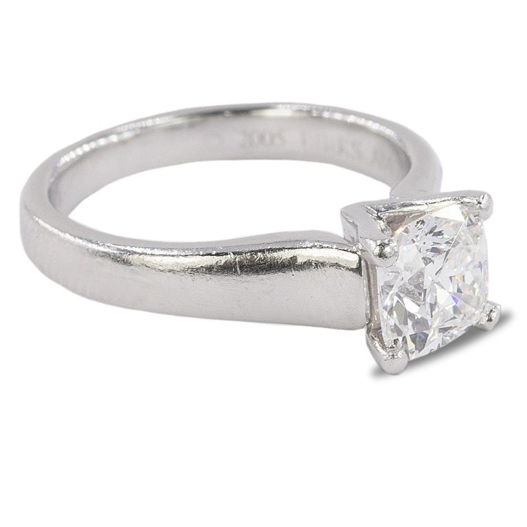 Platinum Ring with GIA certified 1.04 carat E color VVS1 Cushion Cut Diamond