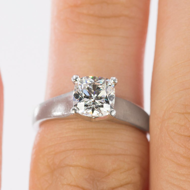 Platinum Ring with E Color VVS1 Clarity Cushion Cut Diamond In Excellent Condition For Sale In Sarasota, FL